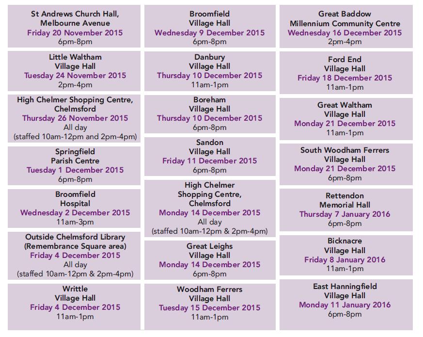 Chelmsford's future - Drop in dates